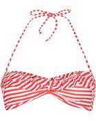 Topshop Coral Stripe Frill Bikini Top - Lyst