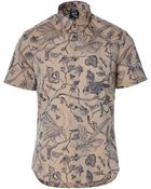 McQ by Alexander McQueen Nougat/Blue Printed Cotton Shirt - Lyst