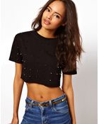 ASOS Collection  Sweatshirt Cropped with Studs - Lyst