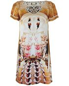 Mary Katrantzou Short Sleeve Cakeaflake Silk Shift Dress - Lyst
