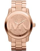 Michael Kors Oversized Rose Golden Stainless Steel Runway Threehand Glitz Watch - Lyst