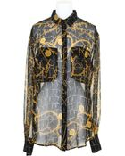 Jeremy Scott Silk Chiffon Shirt with An Animal and Golden Chain Print - Lyst