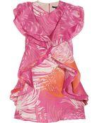 Gucci Ruffled Printed Silkgazar Mini Dress - Lyst
