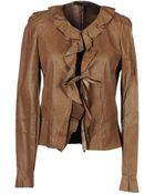 Jil Sander Navy Leather Outerwear - Lyst