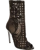 Balmain Lace Embroidered Boot - Lyst
