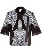 Helmut Lang Short Sleeve Cotton-Leather Urchin Print Jacket in Black-Multi - Lyst