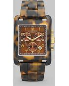 Michael Kors Tortoise Print Stainless Steel Chronograph Watch - Lyst