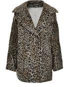 Topshop Leopard Ovoid Wool Jacket - Lyst