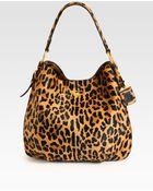 Prada Cavallino Leopardprint Hair Calf Hobo - Lyst