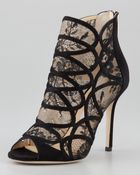 Jimmy Choo Fauna Lacesuede Cage Sandals - Lyst