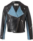 Acne Studios Rita Leather and Denim Biker Jacket - Lyst