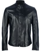 Emporio Armani Classic Leather Jacket - Lyst