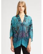 Roberto Cavalli Printed Silk Chiffon Caftan - Lyst