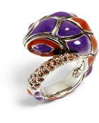 Roberto Cavalli Twotone Enamel Snake Ring - Lyst