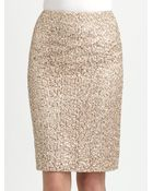 Kay Unger Sequined Lace Pencil Skirt - Lyst