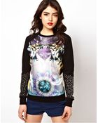 ASOS Collection Asos Sweatshirt with Woven Front Tiger Print with Studs - Lyst