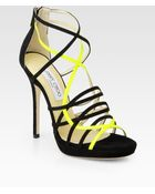 Jimmy Choo Myth Suede Leather Platform Sandals - Lyst
