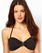 Marie Meili Metallic Stripe Bandeau Bikini Top - Lyst