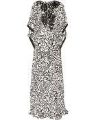 Oscar de la Renta Printed Silk Crepe De Chine Kaftan - Lyst