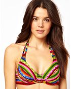 Asos Blanket Print Halter Plunge Fuller Bust Bikini Top - Lyst