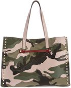 Valentino Rock Stud Camouflage Shopper - Lyst