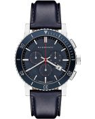 Burberry Mens Blue Leather Strap Watch - Lyst