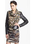 Just Cavalli Canvas Leather Moto Jacket - Lyst