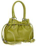 Buti Green Tassel Drawstring Pebble Leather Satchel Handbag - Lyst