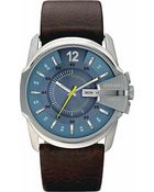 Diesel Stainless Steel and Leather Watch Blue - Lyst
