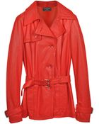 Forzieri Red Leather Trench Coat - Lyst