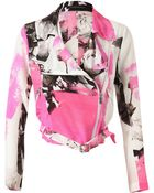 Christopher Kane Rose Printed Crepe De Chine Biker Jacket - Lyst