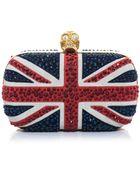 Alexander McQueen Britannia Suede and Crystal Clutch - Lyst