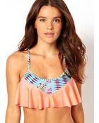 Asos Geo Print Floaty Crop Bikini Top - Lyst