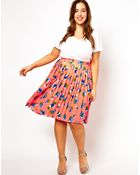 Asos Curve Midi Skirt in Pleated Floral Print - Lyst