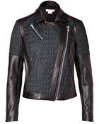 Helmut Lang Leather Paneled Biker Jacket In Everest/Black - Lyst