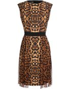 Giambattista Valli Leopard Printed Cotton Dress with Chiffon Skirt - Lyst