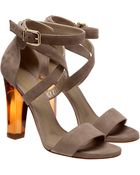 Gianvito Rossi Strappy Suede Heels with Resin Heels - Lyst