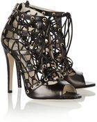 Brian Atwood Leather and Elaphe Cutout Ankle Boots - Lyst