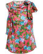 Nina Ricci Bow Detail Floral Printed Silk Top - Lyst