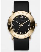 Marc By Marc Jacobs Ladies Black And Goldtone Amy Watch - Lyst