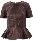 McQ by Alexander McQueen Peplum Leather Top - Lyst