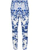 Roberto Cavalli Paisley Slim Cropped Trouser - Lyst