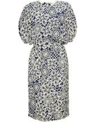 Thakoon Navy Floral Side Draped Dress - Lyst