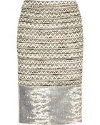 Tory Burch Vanessa Leather paneled Tweed Pencil Skirt - Lyst