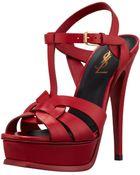 Saint Laurent Highheel Leather Sandal  - Lyst