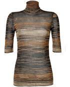 Missoni Metallic Knit Short Sleeve Turtleneck - Lyst