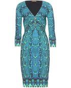 Roberto Cavalli Print Dress with Draped Detail - Lyst