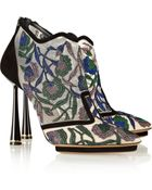 Nicholas Kirkwood Belle Epoque Embroidered Mesh and Suede Ankle Boots - Lyst