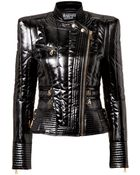 Balmain Glossy Quilted Jacket in Black - Lyst