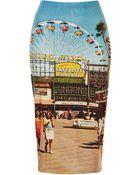 Topshop Big Wheel Printed Tube Skirt - Lyst